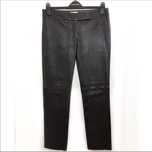 Milly of New York Black Leather Pants Flat Front